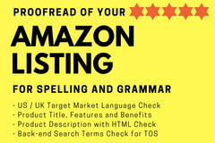 Package: Amazon Listing Proofread for Spelling, Grammar and Accuracy