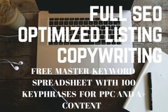 Package: Amazon SEO COPY Optimized Listing w/FREE KEYWORD SPREADSHEET