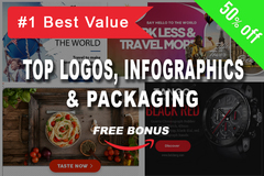 Package: Best Logos, Infographics, Banners & Packaging + Bonus