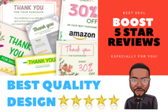Package: BOOST Your 5 STAR REVIEWS With Amazing Thank You Card Design