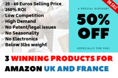 Package: 3 Winning Products for Amazon UK OR France + Keywords