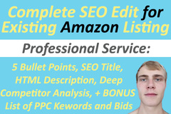 Package: PRO Complete SEO Edit for Existing Amazon Listing + Bonus