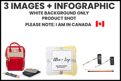 Package: 3 white background images + simple infographic