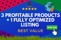 Package: 3 Profitable Products Research + Fully Optimized Listing